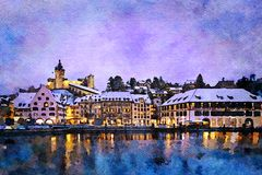Schaffhausen cityscape at twilight in winter. The river Rhine and the city of Schaffhausen in Switzerland with Munot castle at twilight in winter watercolor stock image