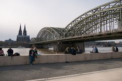 River Rhine in Cologne Germany with Cathedral and Hohenzollern Bridge stock photo
