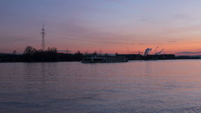 River Rhine at dusk - time lapse stock footage