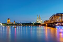 The river Rhine with the famous skyline of Cologne Royalty Free Stock Images