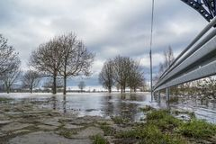 The river Rhine is flooding the city of Duisburg. Germany Royalty Free Stock Photography