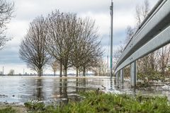 The river Rhine is flooding the city of Duisburg. Germany Stock Photography