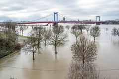 The river Rhine is flooding the city of Duisburg. Germany Stock Image
