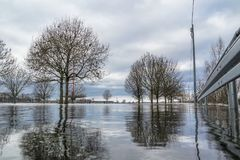 The river Rhine is flooding the city of Duisburg. Germany Royalty Free Stock Image