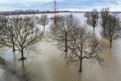 The river Rhine is flooding the city of Duisburg. Germany Stock Images