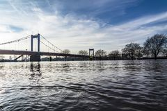 The river Rhine is flooding the city of Duisburg. Germany Stock Photos
