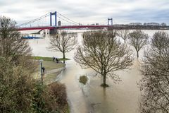 The river Rhine is flooding the promenade. Of Duisburg, Germany Royalty Free Stock Image