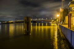 The river Rhine is flooding the promenade. Of Duisburg, Germany Royalty Free Stock Photo