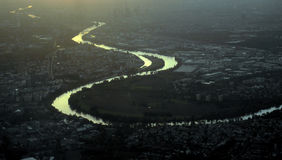 River Rhine Frankfurt air. Aerial view of the river Rhine skirting the suburbs of city of Frankfurt in Germany Stock Image