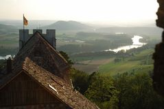 River Rhine from medieval castle. Royalty Free Stock Images