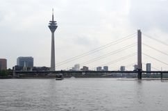 River Rhine scenery in Duesseldorf Royalty Free Stock Photography