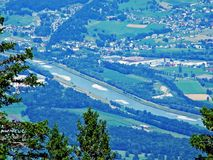 River Rhine in the Swiss canton Saint Gallen. Canton of St. Gallen, Switzerland stock images