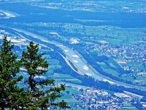 River Rhine in the Swiss canton Saint Gallen. Canton of St. Gallen, Switzerland royalty free stock image