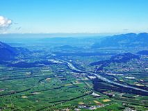 River Rhine in the Swiss canton Saint Gallen. Canton of St. Gallen, Switzerland royalty free stock photography