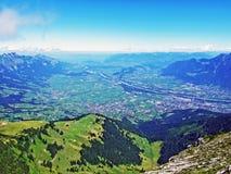 River Rhine in the Swiss canton Saint Gallen. Canton of St. Gallen, Switzerland stock image