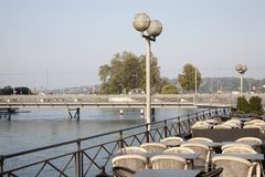 River Rhone and Bergues Bridge; Geneva Royalty Free Stock Images