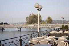 River Rhone and Bergues Bridge; Geneva Royalty Free Stock Images