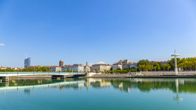 River Rhone in France with view  to centre Nautique and old town Royalty Free Stock Image