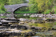 River Ribble, Yorkshire Dales. A stretch of the River Ribble just before Stainforth Falls. Part of the Yorkshire Dales National Park. A popular UK travel Royalty Free Stock Image