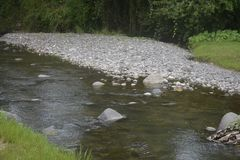 A river with rich deposit of Sand and Gravel. Stock Photos