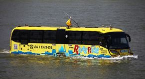 Budapest, Hungary - June, 02, 2018 - The amphibious Bus. The River Ride with the Water Bus, is a special sightseeing tour on which you can see the sights of stock photography