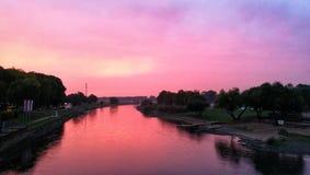 River in Rinteln. Evening Riverside Rinteln Weser Stock Image