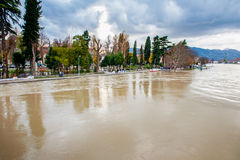 River rises to the dangerous level. Display of swollen river threatening the city and its people. Dangerous level of water Stock Photo
