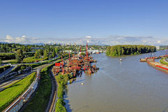 River and riverbank on a beautiful day Stock Images