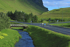River, road and bridge. At Vic town, Iceland Royalty Free Stock Images