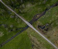 River and road crossroads - drone photo stock image