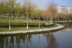 The river road. River stone road, built along the river, people can walk, along the river at the same time has a different beautiful scenery all year round Stock Image