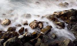 River Rocks. With Water Flowing on Stream Bed stock photos