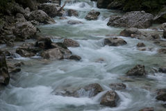 River and Rocks. Hiking through the Bavarian Alps of Southern Germany Royalty Free Stock Photo