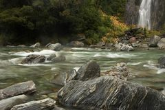 River with rocks, milky water, and waterfall Stock Image