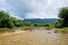 River with rocks, stream in a tropical rain forest. In Thailand Stock Photography
