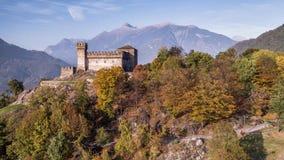 River Rocks Valley Verzasca Ticino Switzerland Aerial 4kAutumn Castle Ticino Castello Sasso Corbaro Switzerland Aerial 4k