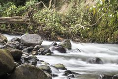 River with rocks. River water in motion that breaks over rocks in a wild environment royalty free stock photography
