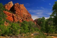 River and rocks of Zion National park. In day time with wispy clouds Stock Photos