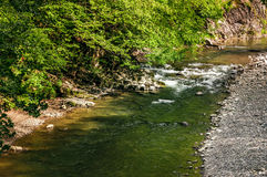 River with rocky shore. view from above Stock Photos