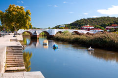 River running through a little Portuguese town Royalty Free Stock Photography