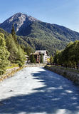 River running through a steep alpine valley Stock Image
