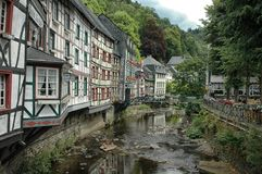 River runs through Monschau, Germany Royalty Free Stock Image