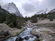 River runs in the mountains. Clear river in Kazakhstan mountains Royalty Free Stock Photography