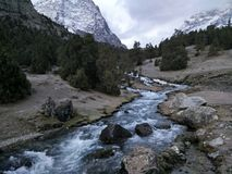 River runs in the mountains. Clear river in Kazakhstan mountains Stock Images