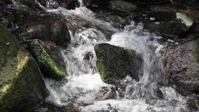 River runs over boulders stock video