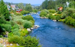 A river runs through. The Truckee River runs through the picturesque town of Truckee, California.  Fisherman, hikers, bikers, skiiers and naturalists of all Stock Photo