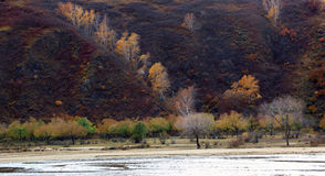 The river runs through the Ulan Buh grassland. In autumn in Inner Mongolia, very beautiful plateau scenery.take photo in Ulan Buh China Royalty Free Stock Photography