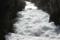 River. A rushing river in New Zealand flows through a canyon stock photos
