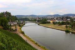 River Saar. View of the River Saar in the city  Saarburg, Rheinland-Pfalz, Germany, evening Stock Images