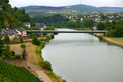 River Saar. View of the River Saar in the city  Saarburg, Rheinland-Pfalz, Germany, evening Stock Photo